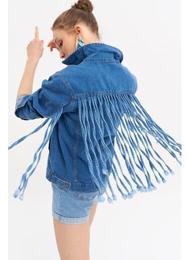 ESQ Sırtı Saçaklı Kot Ceket Mavi